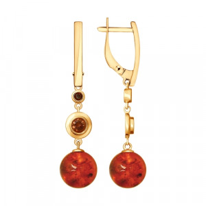 925 Sterling Silver pair earrings with cubic zirconia and amber