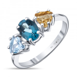 925 Sterling Silver women's rings with topaz and citrine