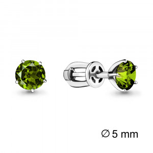 925 Sterling Silver pair earrings with chrysolite