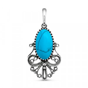 925 Sterling Silver pendants with synthetic turquoise