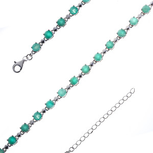 925 Sterling Silver bracelets with emerald and beryl