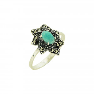 925 Sterling Silver women's rings with amazonite