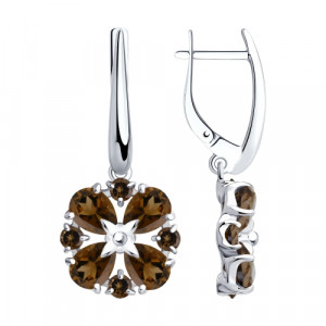 925 Sterling Silver pair earrings with rauchtopaz
