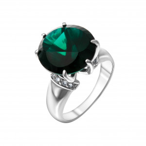 925 Sterling Silver women's rings with cubic zirconia and quartz pl. emerald
