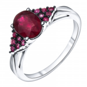 925 Sterling Silver women's rings with rubin