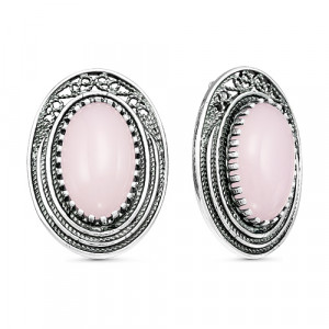 925 Sterling Silver pair earrings with quartz and