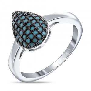 925 Sterling Silver women's ring with nano turquoise