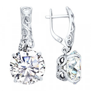 925 Sterling Silver pair earrings with cubic zirconia and rhinestone