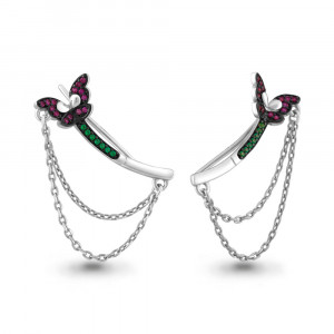 925 Sterling Silver pair earrings with corundum