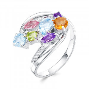 925 Sterling Silver women's rings with nano sitall and topaz