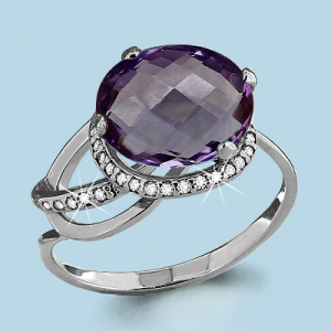 925 Sterling Silver women's rings with amethyst and cubic zirconia