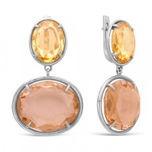 925 Sterling Silver pair earrings with crystal jewelry