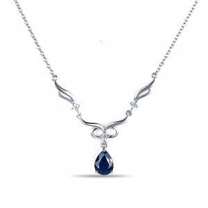 925 Sterling Silver necklaces with  and sapphire