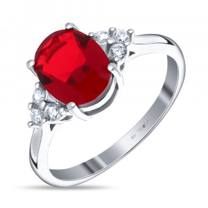 925 Sterling Silver women's ring with alpana and cubic zirconia