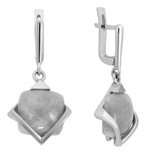 925 Sterling Silver pair earrings with jade and moonstone