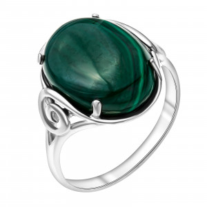 925 Sterling Silver women's rings with malachite and coral