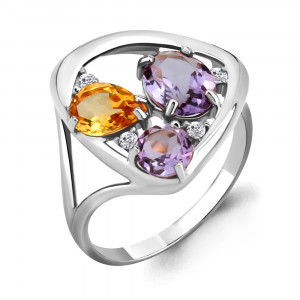 925 Sterling Silver women's rings with citrine and amethyst