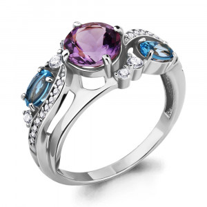 925 Sterling Silver women's rings with amethyst and