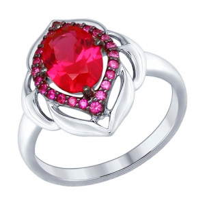925 Sterling Silver women's rings with synthetic rubin and cubic zirconia