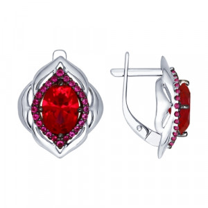 925 Sterling Silver pair earrings with synthetic rubin and cubic zirconia