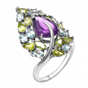 925 Sterling Silver women's ring with topaz and chrysolite