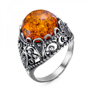 925 Sterling Silver women's rings with synthetic amber and amber