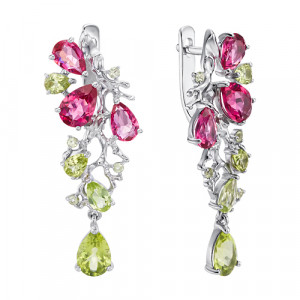 925 Sterling Silver pair earrings with rubellite