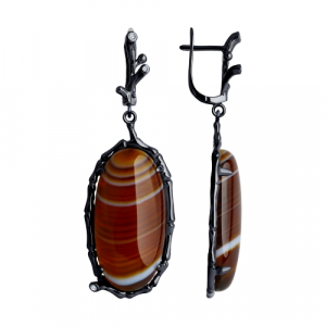925 Sterling Silver pair earrings with synthetic agate and cubic zirconia