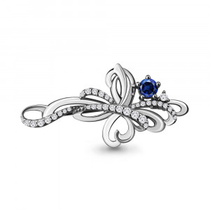925 Sterling Silver brooches with cubic zirconia and nano sapphire