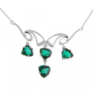 925 Sterling Silver necklaces with quartz pl. emerald