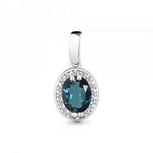 925 Sterling Silver pendants with london topaz and cubic zirconia