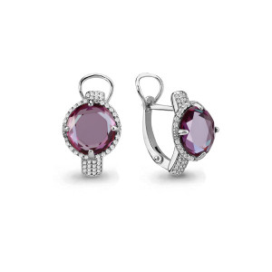 925 Sterling Silver pair earrings with cubic zirconia and alexandrite