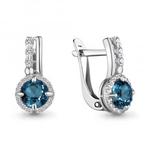 925 Sterling Silver pair earrings with cubic zirconia and london topaz