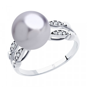 925 Sterling Silver women's rings with pearl imit. and cubic zirconia swarovski