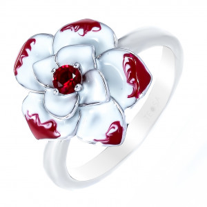 925 Sterling Silver women's rings with alpana and enamel