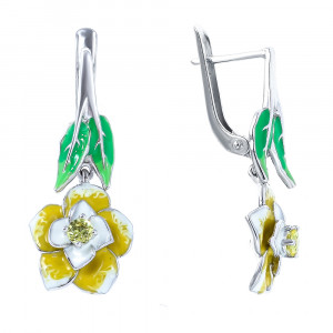 925 Sterling Silver pair earrings with alpana and enamel