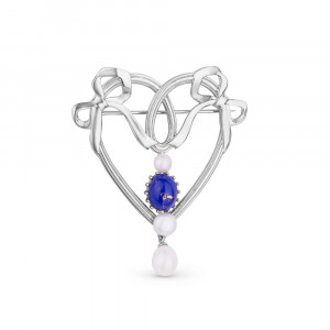 925 Sterling Silver brooches with lapis and pearl