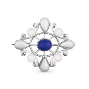 925 Sterling Silver brooches with pearl and lapis