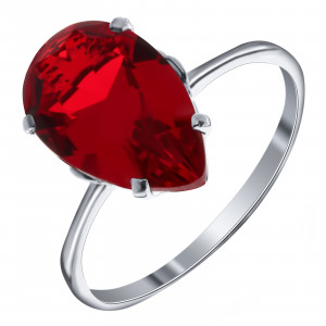 925 Sterling Silver women's ring with quartz pl. ruby