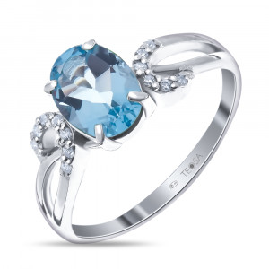 925 Sterling Silver women's rings with quartz pl. topaz and cubic zirconia