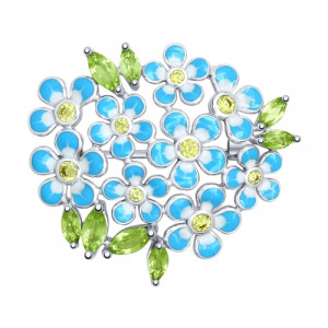 925 Sterling Silver brooches with chrysolite and cubic zirconia