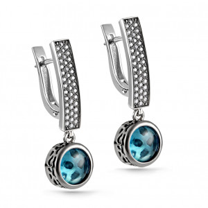 pair earrings with cubic zirconia and sitall