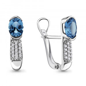 925 Sterling Silver pair earrings with synthetic spinel and topaz