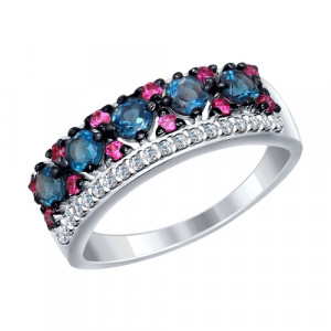 925 Sterling Silver women's rings with london topaz and synthetic corundum