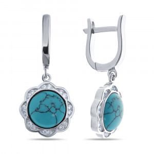 925 Sterling Silver pair earrings with synthetic turquoise and cubic zirconia