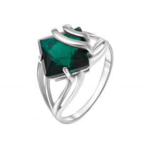 925 Sterling Silver women's rings with quartz pl. emerald and emerald