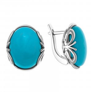 925 Sterling Silver pair earrings with chrysoprase and coral