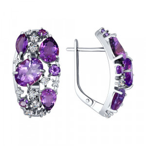 925 Sterling Silver pair earrings with amethyst and garnet