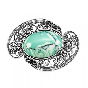 925 Sterling Silver brooches with cacholong