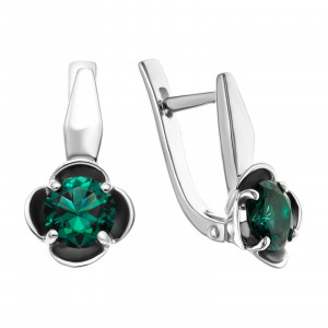 925 Sterling Silver pair earrings with tourmaline